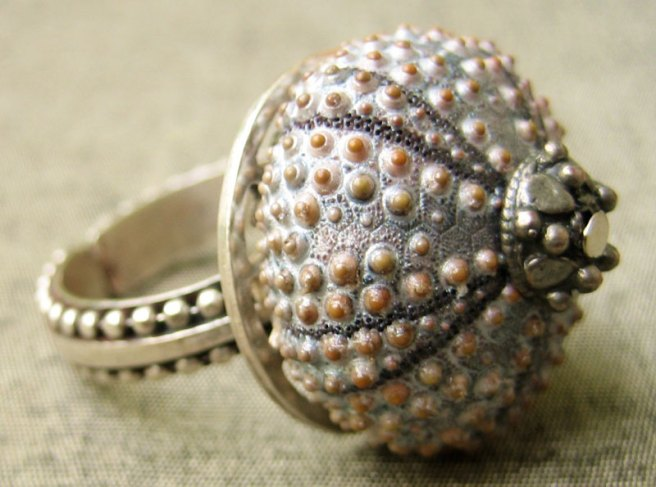 Sterling Silver Grey Urchin Ring