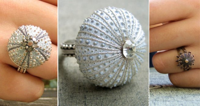 My favorite again, Sterling Silver White Ring and Mini Pinkish Brown Copper Urchin Ring