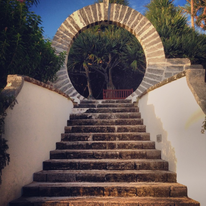 Moon gate—found everywhere on the island, engaged couples are supposed to walk through them for good luck.
