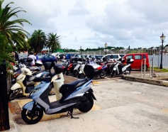 This is what parking lots look like here: mostly bikes!