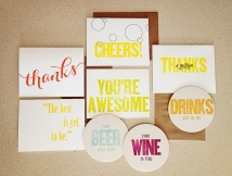 thank you card, cheers, cheers card, thank you, wedding card, wedding, coasters, funny, cute, fall, fall collection, subscription, subscribe, subscription box, great gift, gift idea, easy gift idea, deliver, special delivery, unique gift, inspiration, gift subscription, botanical, grass, daisy, dandelion, quote, bee, card, stationery, greeting card, birthday card, letterpress, letterpress card, script, calligraphy, brush lettering, modern, modern calligraphy, modern lettering, lead type, wood type, handmade, small business, maker, artisan, artist, etsy, cotton, cotton paper, high end card, high end stationery, wedding, wedding card, curated, curated collection, orange, yellow, green, simple, modern