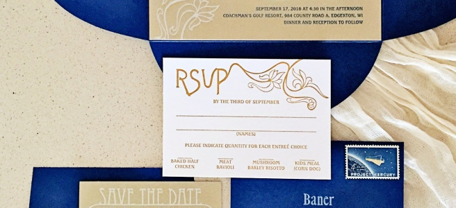 art nouveau, art nouveau wedding, 1920s theme, themed wedding, historical wedding, cobalt, blue, peacock, gold, metallic, invitation, RSVP, save the date, letterpress, coasters, return address printing, wax seal, handmade, antique, printing press, etsy