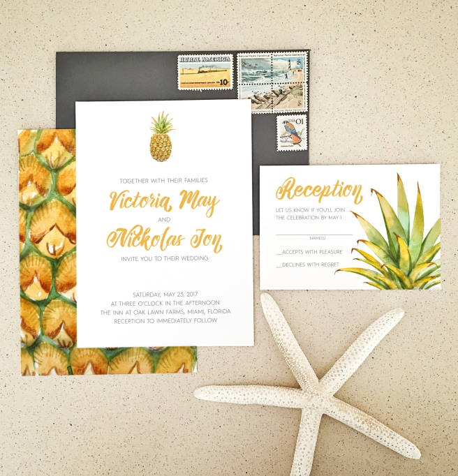 pineapple, destination wedding, leaves, palm, cute wedding invitation, island wedding, brush lettering, vintage stamps, wedding, wedding invitation, wedding invite, invitation, invite, watercolor, handpainted, floral, flowers, calligraphy, modern, simple, affordable, affordable wedding invitation, romantic, romantic wedding invitation, invitation suite, flat lay, invitation styling, paper flowers