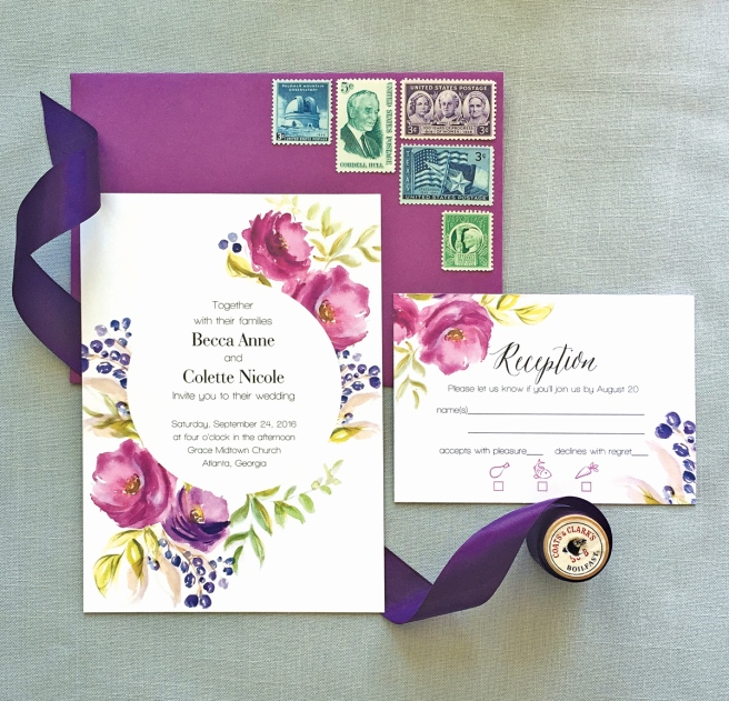 purple, wedding, wedding invitation, wedding invite, invitation, invite, watercolor, handpainted, floral, flowers, calligraphy, modern, simple, affordable, affordable wedding invitation, romantic, romantic wedding invitation, invitation suite, flat lay, invitation styling, paper flowers