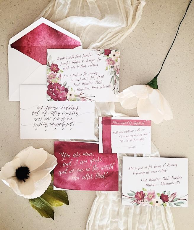 Burgundy Blush Watercolor Floral Wedding Invitations 622 Press
