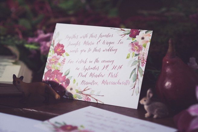 wedding invitation, invitation, floral, flowers, pink, blush, burgundy, merlot, foliage, sage, branches, woods, wooded, fairytale wedding, fairy tale, brothers grimm, grimm fairy tale, dark, rich, rich wedding colors, burgundy, mysterious, lush, lush wedding colors, style shoot, photo shoot, wedding inspiration, pink, red, purple, plum, forest, romantic